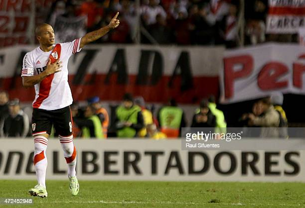 Carlos Sanchez of River Plate celebrates after scoring the winning goal of his team against Boca Juniors during a first leg match between River Plate...