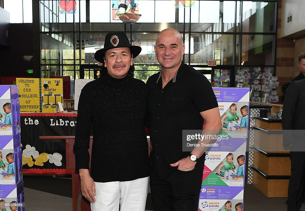 Carlos Santana and Andre Agassi attend a press conference to announce a special partnership and research project with Square Panda and the Andre Agassi College Preparatory Academy on November 1, 2016 in Las Vegas, Nevada.