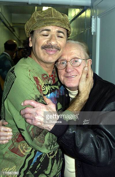 Carlos Santana and Les Paul during Carlos Santana and Friends Play AE's 'Live By Request' at Sony Studios in New York NY United States