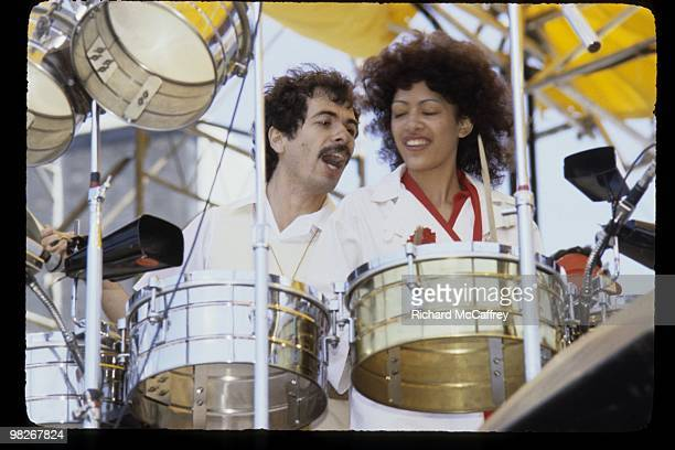 Carlos Santana and Sheila E perform live at The Oakland Coliseum in 1977 in Oakland California