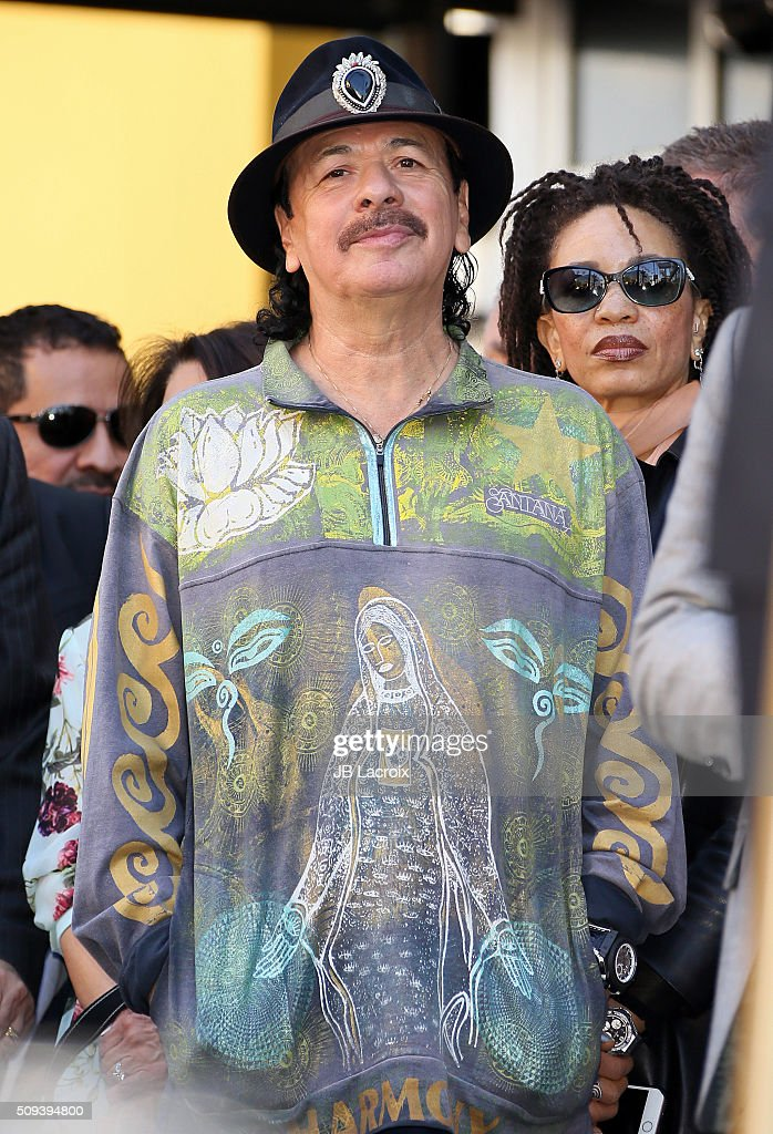 <a gi-track='captionPersonalityLinkClicked' href=/galleries/search?phrase=Carlos+Santana+-+Musician&family=editorial&specificpeople=11497837 ng-click='$event.stopPropagation()'>Carlos Santana</a> attends a ceremony honoring the rock band 'Mana' with a star on the Hollywood Walk of Fame on February 10, 2016 in Hollywood, California.