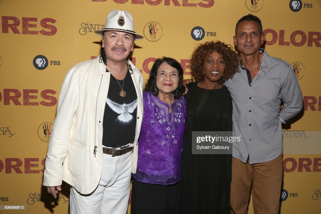 Carlos Santana, Dolores Huerta, Alfre Woodard and Peter Bratt attend 'Dolores' New York Premiere at Metrograph on August 21, 2017 in New York City.