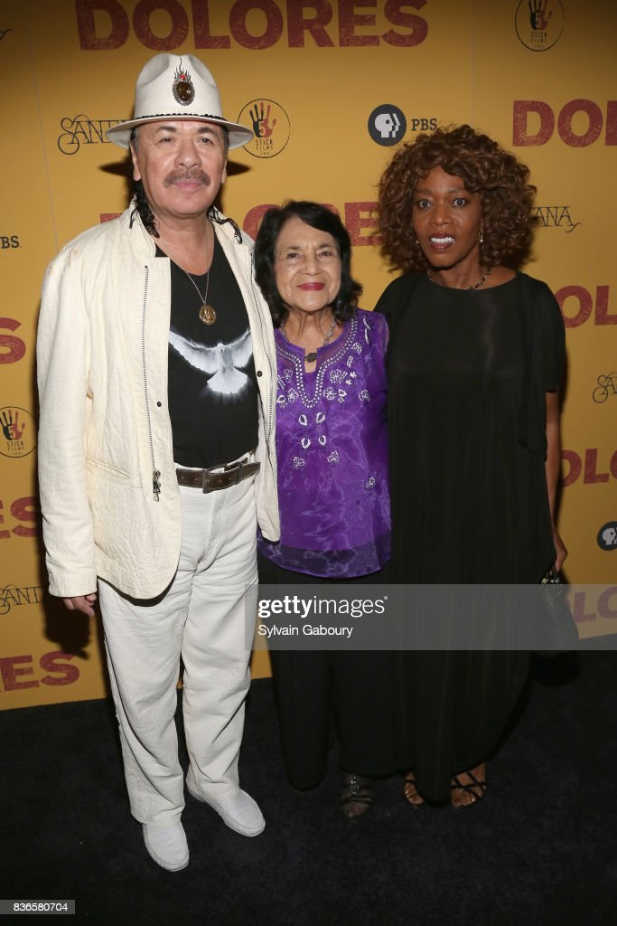 Carlos Santana, Dolores Huerta and Alfre Woodard attend 'Dolores' New York Premiere at Metrograph on August 21, 2017 in New York City.