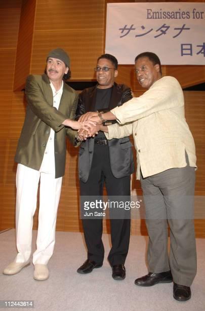 Carlos Santana Herbie Hancock and Wayne Shorter during Carlos Santana Herbie Hancock And Wayne Shorter Emissaries for Peace Tour Tokyo Press...