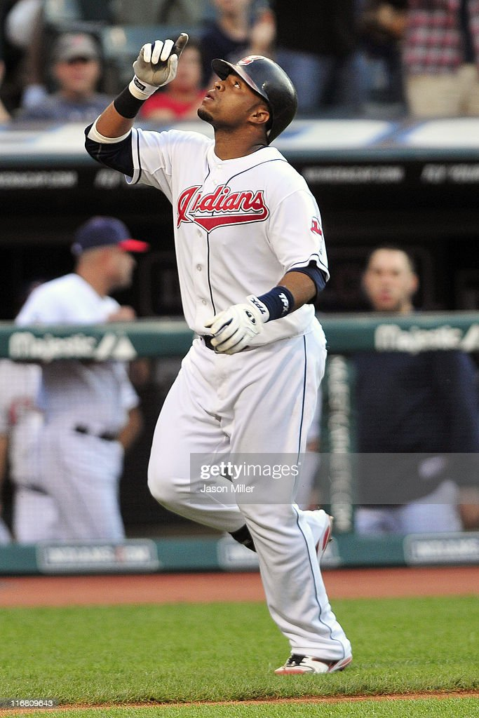 Carlos Santana #41 of the Cleveland Indians celebrates after a solo home run during the fourth inning against the Pittsburgh Pirates at Progressive Field on June 17, 2011 in Cleveland, Ohio.