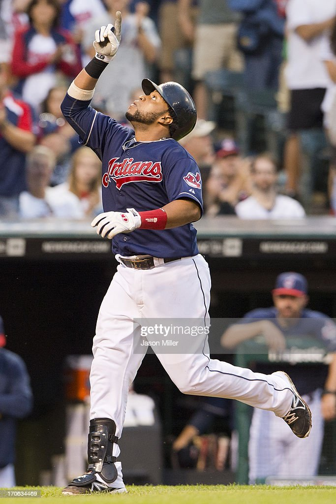 Carlos Santana #41 of the Cleveland Indians celebrates after hitting a solo home run during the fourth inning against the Washington Nationals at Progressive Field on June 15, 2013 in Cleveland, Ohio.