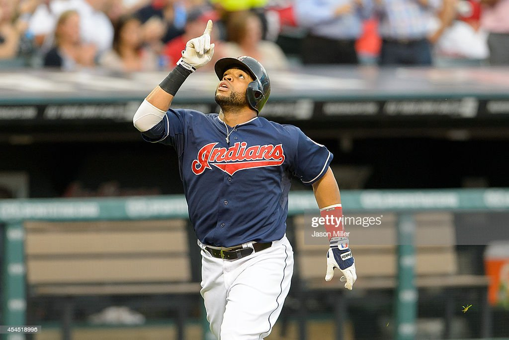Carlos Santana #41 of the Cleveland Indians celebrates after hitting a two-run home run during the first inning against the Cleveland Indians at Progressive Field on September 2, 2014 in Cleveland, Ohio.