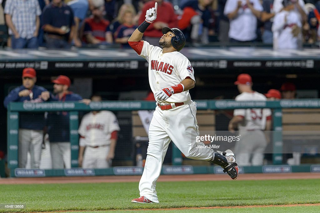 Carlos Santana #41 of the Cleveland Indians celebrates after hitting a solo home run during the fourth inning against the Chicago White Sox at Progressive Field on September 6, 2014 in Cleveland, Ohio.