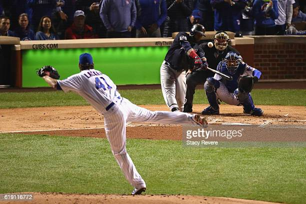 Carlos Santana of the Cleveland Indians hits a home run off of John Lackey of the Chicago Cubs in the second inning in Game Four of the 2016 World...
