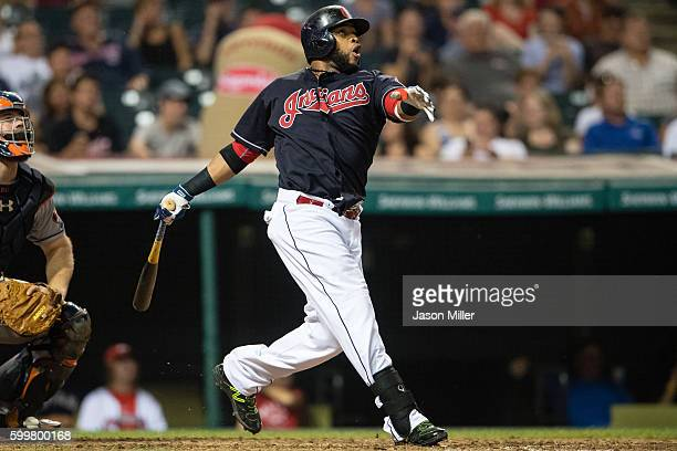 Carlos Santana of the Cleveland Indians hits a solo home run during the eighth inning against the Houston Astros at Progressive Field on September 6...