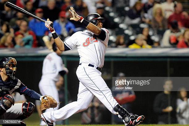 Carlos Santana of the Cleveland Indians hits a solo walkoff home run to defeat the Minnesota Twins 65 at Progressive Field on September 23 2011 in...