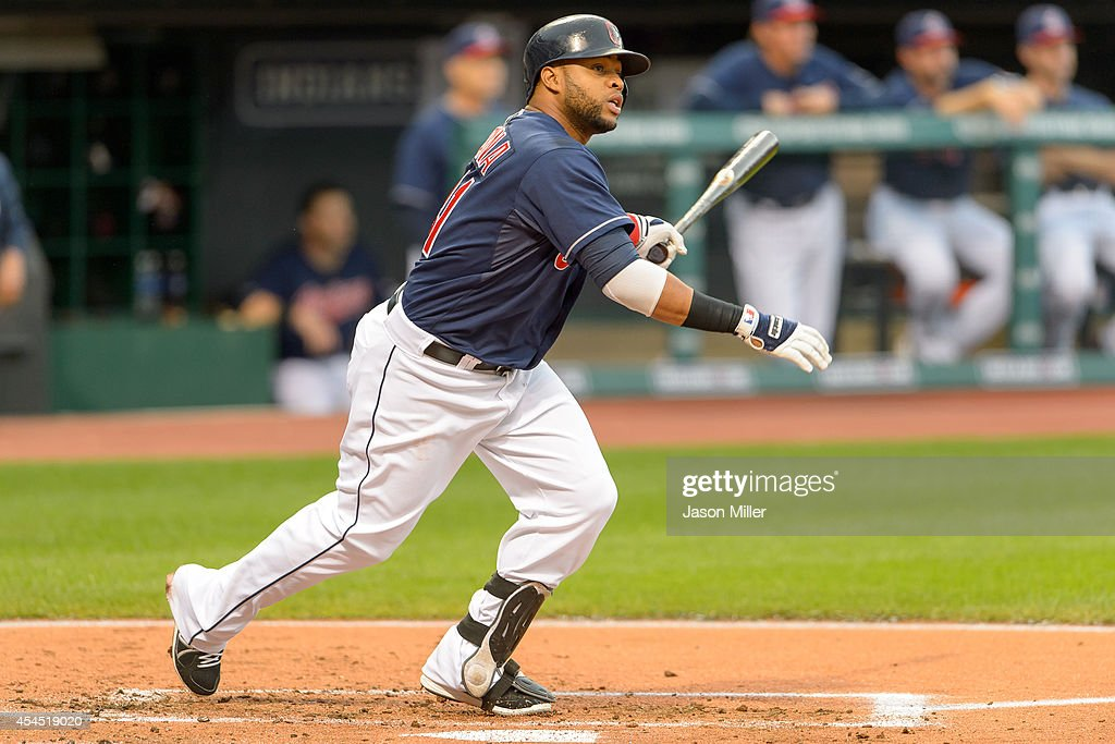 Carlos Santana #41 of the Cleveland Indians hits a two-run home run during the first inning against the Detroit Tigers at Progressive Field on September 2, 2014 in Cleveland, Ohio.