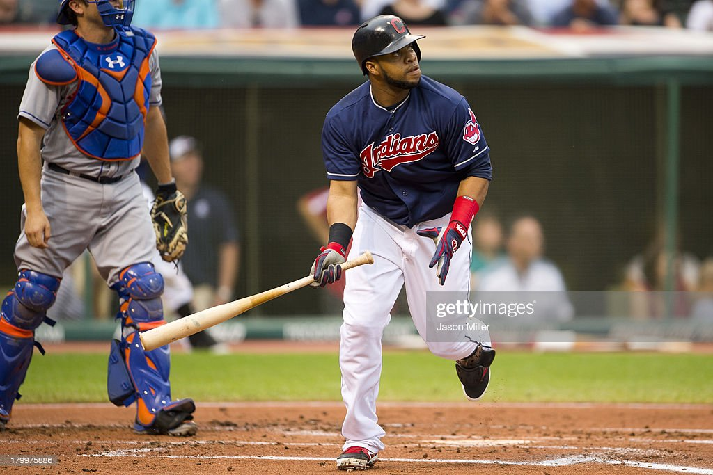 Carlos Santana #41 of the Cleveland Indians hits an RBI double during the first inning against the New York Mets at Progressive Field on September 7, 2013 in Cleveland, Ohio.