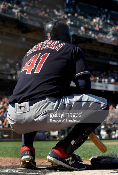 Carlos Santana of the Cleveland Indians looks on from the ondeck circle against the San Francisco Giants in the top of the ninth inning at ATT Park...