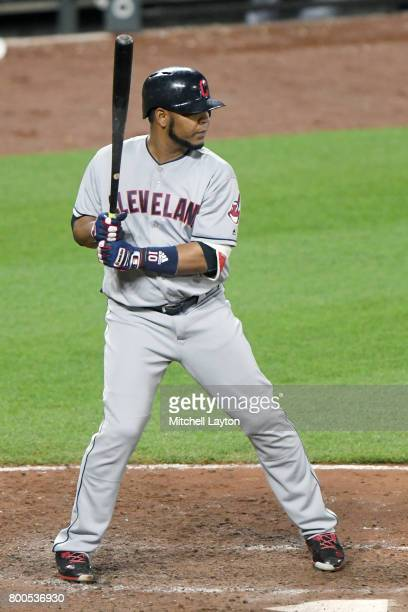 Carlos Santana of the Cleveland Indians prepares for a pitch during a baseball game against the Baltimore Orioles at Oriole park at Camden Yards on...
