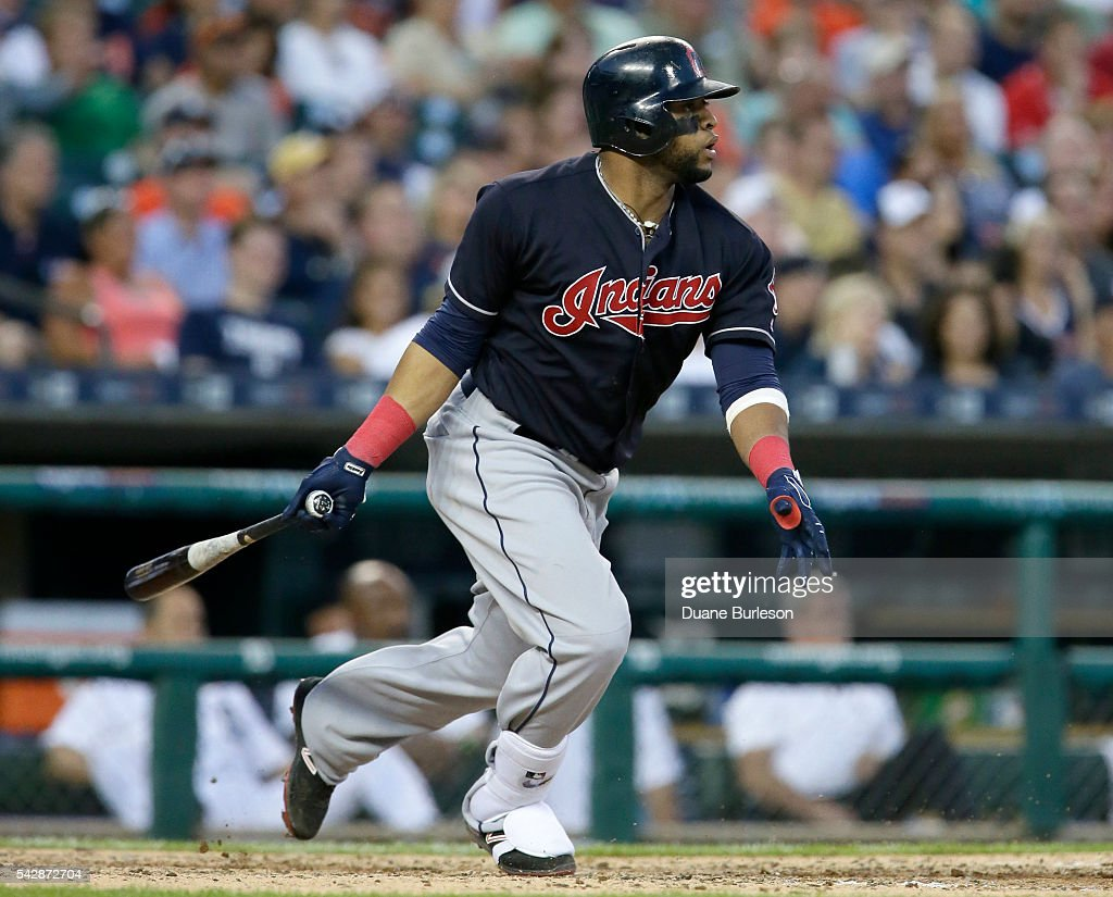 Carlos Santana #41 of the Cleveland Indians singles against the Detroit Tigers during the sixth inning at Comerica Park on June 24, 2016 in Detroit, Michigan.