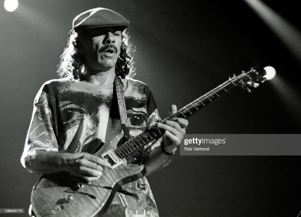 Carlos Santana performs on stage at Ahoy, Rotterdam, Netherlands, 1st October 1994.