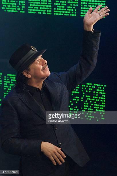 Carlos Santana receives the Cadena Dial award during the Cadena Dial 2013 awards ceremony at the Miguel Delibes auditorium on March 7 2014 in...
