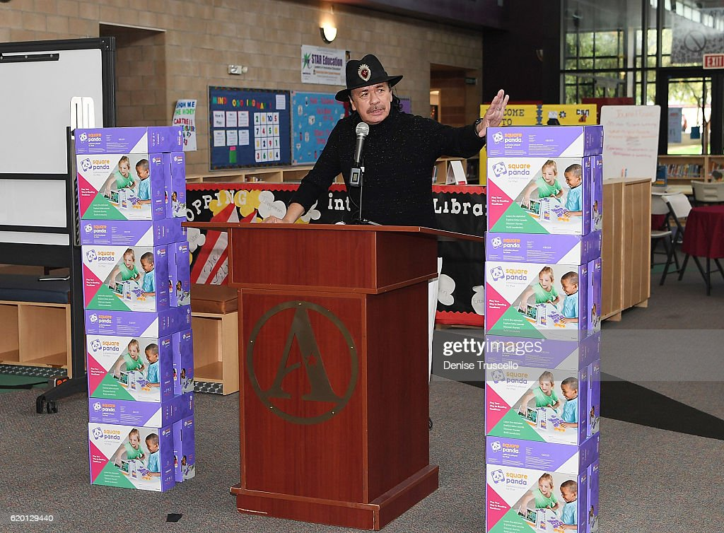Carlos Santana speaks during a press conference to announce a special partnership and research project with Square Panda and the Andre Agassi College Preparatory Academy on November 1, 2016 in Las Vegas, Nevada.