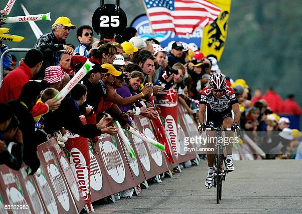 Carlos Sastre of Spain and Team CSC approaches the finish line during Stage 10 of the 92nd Tour de France between Grenoble and Courchevel July 12...