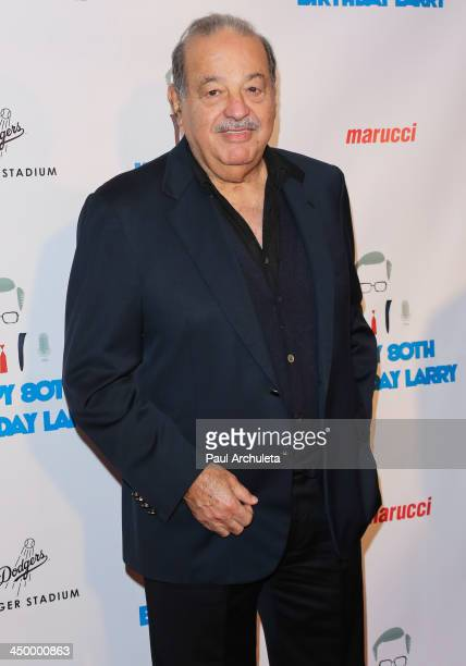 Carlos Slim attends a surprise party for Larry King's 80th Birthday at Dodger Stadium on November 15 2013 in Los Angeles California