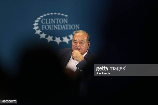 Carlos Slim Chairman Grupo Carso attends the Clinton Foundations Future of the Americas summit at the University of Miami on December 11 2014 in...