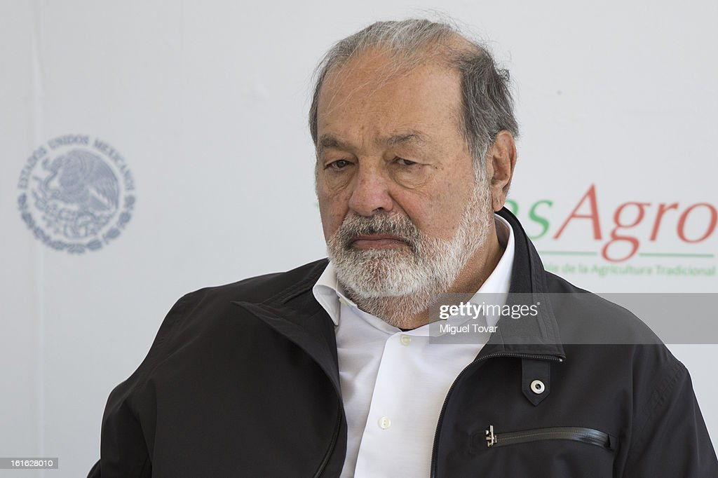 Carlos Slim during a press conference at the CIMMYT on February 13, 2013 in Texcoco, Mexico. Gates and Slim announce a collaboration of their foundations in grain technology and agriculture development.