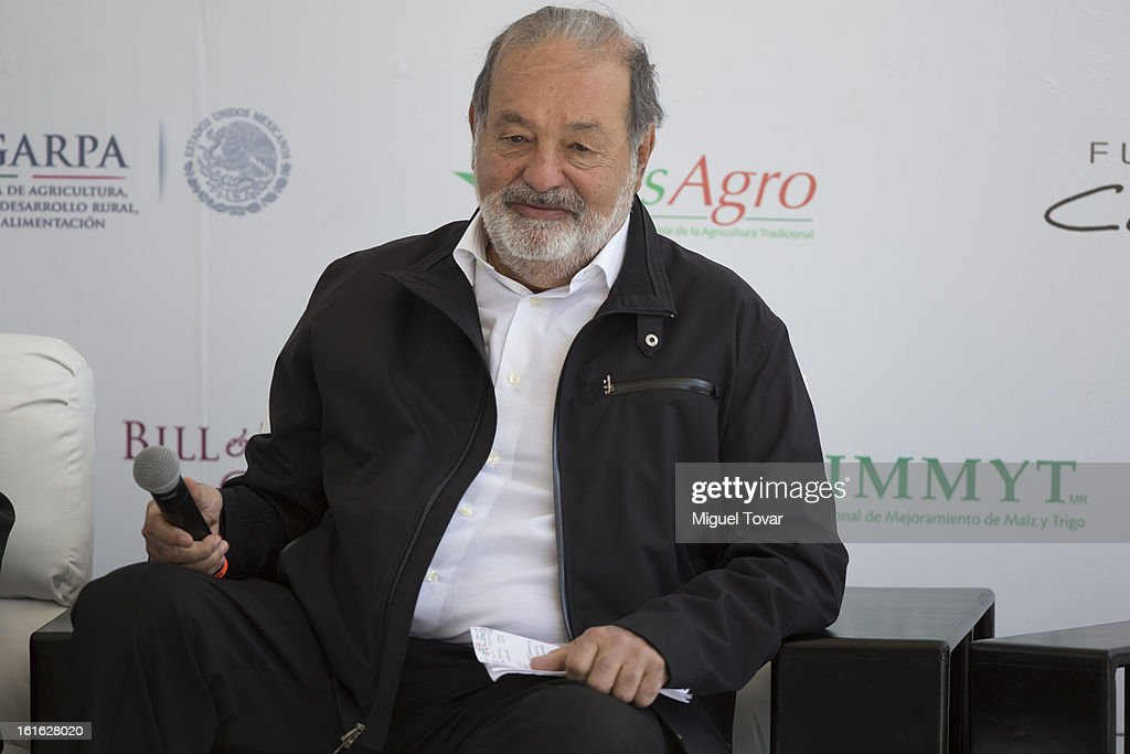 <a gi-track='captionPersonalityLinkClicked' href=/galleries/search?phrase=Carlos+Slim&family=editorial&specificpeople=584959 ng-click='$event.stopPropagation()'>Carlos Slim</a> during a press conference at the CIMMYT on February 13, 2013 in Texcoco, Mexico. Gates and Slim announce a collaboration of their foundations in grain technology and agriculture development.