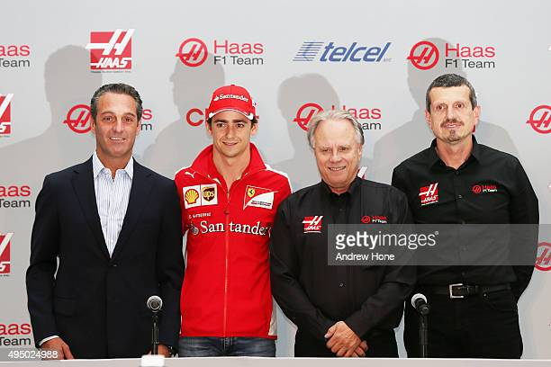 Carlos Slim Jr Team Sponsor Esteban Gutierrez Gene Haas founder and chairman and Guenther Steiner of Haas F1 Team during their driver announcement on...