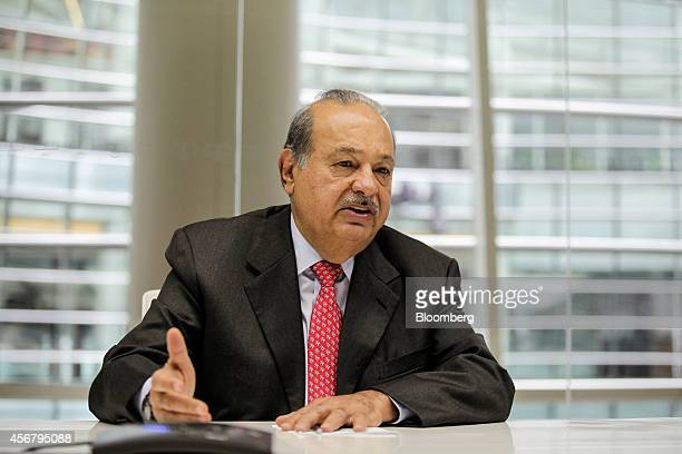 Carlos Slim the Mexican telecommunications billionaire speaks during an interview in New York US on Tuesday Oct 7 2014 Slim the world's secondrichest...