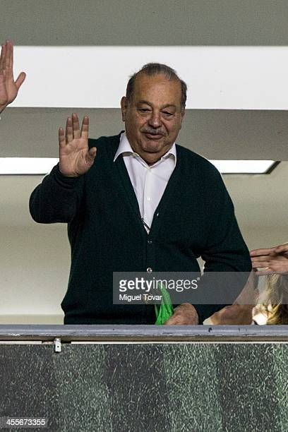 Carlos Slim the richest man in the world attends during the leg 1 of a Championship match between Leon and America as part of the Playoffs Apertura...