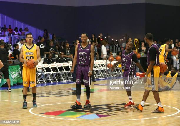 Carlos Smothers Jonathan Clark Porter Maberry and Chris Staples at the Celebrity Basketball Game presented by Sprite and State Farm during the 2017...