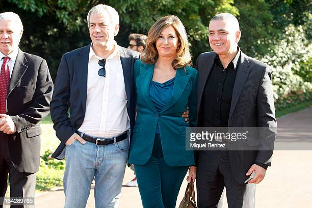 Carlos Sobera Ana Rosa Quintana and Juan Ramon Lucas attend the press conference for the 58th Ondas Awards 2011 at the Palauet Albeniz on November 30...