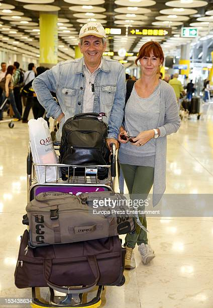 Carlos Sobera and his wife Patricia Santamaria are seen arriving to Spain from Tanzania where the Tv presenter was attacked by an elephant on October...