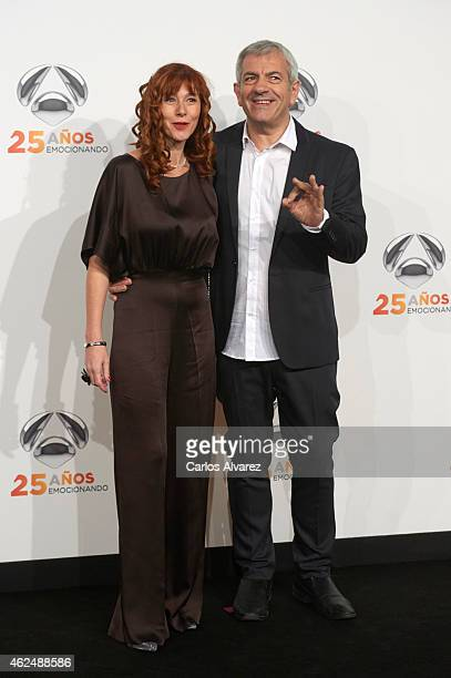 Carlos Sobera and wife Patricia Santamaria attend Antena 3 TV Channel 25th anniversary party at the Palacio de Cibeles on January 29 2015 in Madrid...