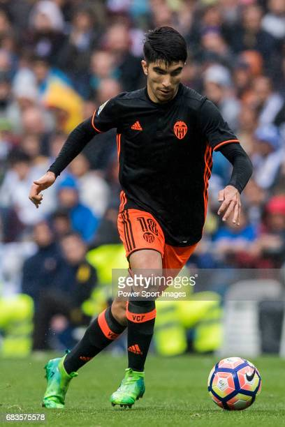 Carlos Soler Barragan of Valencia CF in action during their La Liga match between Real Madrid and Valencia CF at the Santiago Bernabeu Stadium on 29...