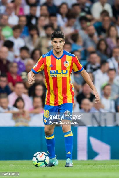 Carlos Soler Barragan of Valencia CF in action during their La Liga 201718 match between Real Madrid and Valencia CF at the Estadio Santiago Bernabeu...