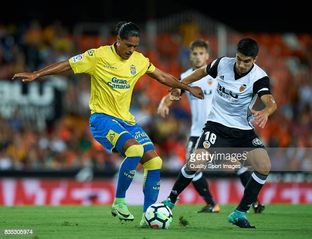 Carlos Soler of Valencia competes for the ball with Mauricio Lemos of Las Palmas during the La Liga match between Valencia and Las Palmas at Estadio...
