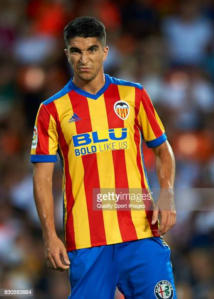 Carlos Soler of Valencia looks on during the preseason friendly match between Valencia CF and Atalanta BC at Estadio Mestalla on August 11 2017 in...