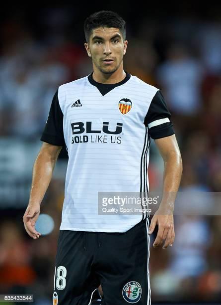 Carlos Soler of Valencia reacts during the La Liga match between Valencia and Las Palmas at Estadio Mestalla on August 18 2017 in Valencia