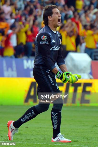 Carlos Sosa of Morelia celebrates the first goal of his team scored by his teammate Raul Ruidiaz during the fifth round match between Morelia and...