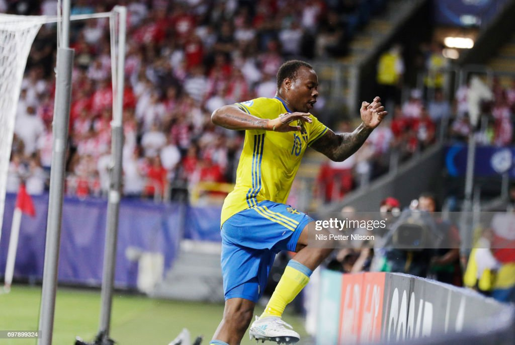 Carlos Strandberg of Sweden celebrates after scoring to 1-1 during the UEFA U21 match between Poland and Sweden at Arena Lublin on June 19, 2017 in Lublin, Poland.