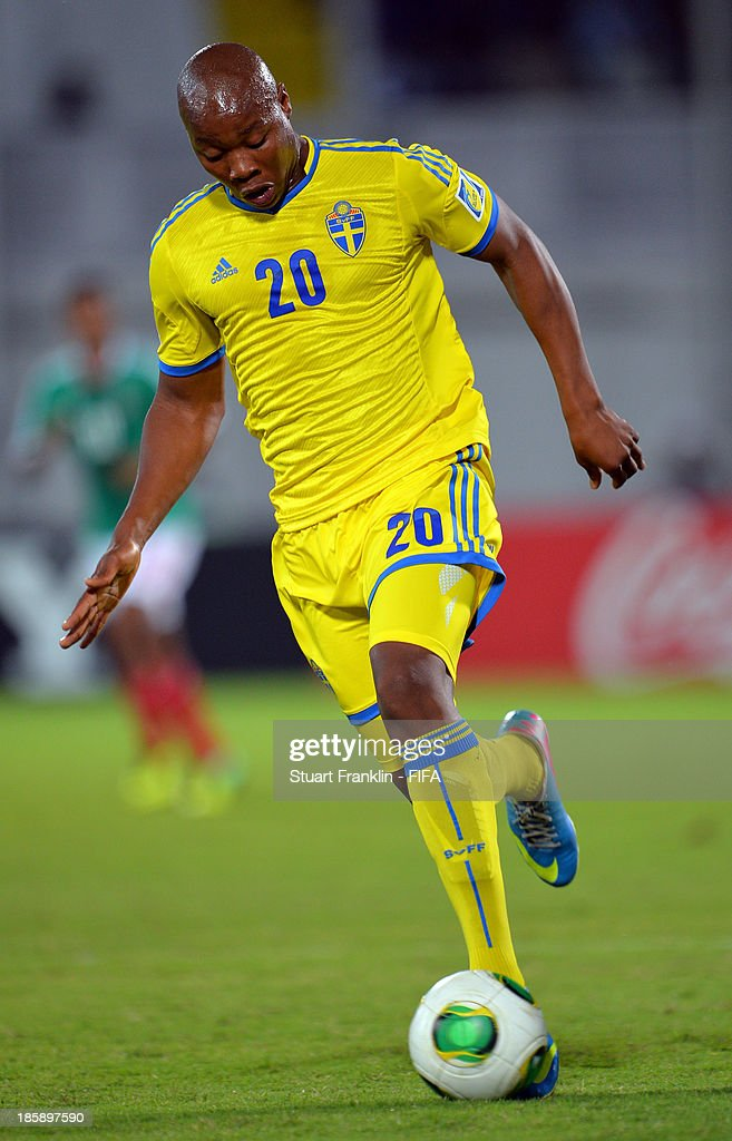 Carlos Strandberg of Sweden in action during the FIFA U 17 World Cup group F match between Sweden and Mexico at Khalifa Bin Zayed Stadium on October 25, 2013 in Al Ain, United Arab Emirates.