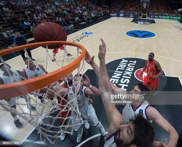 Carlos Suarez #43 of Unicaja Malaga and Daniel Diez #11 of Unicaja Malaga in action during the 20162017 7Days Eurocup Finals Leg 3 Valencia Basket v...