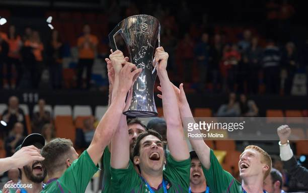 Carlos Suarez #43 of Unicaja Malaga celebrates with teammates and Champion Trophy at the end of the 20162017 7Days Eurocup Finals Leg 3 Valencia...