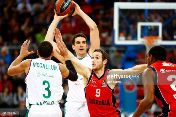 Carlos Suarez #43 of Unicaja Malaga in action during the 2017/2018 Turkish Airlines EuroLeague Regular Season Round 11 game between Baskonia Vitoria...