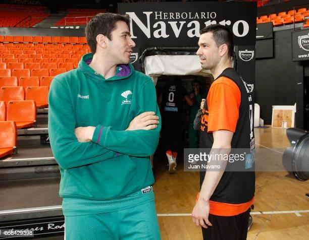 Carlos Suarez #43 of Unicaja Malaga talks to Rafa Martinez #17 of Valencia Basket during the 20162017 7DaysEurocup Finals Unicaja Malaga training...