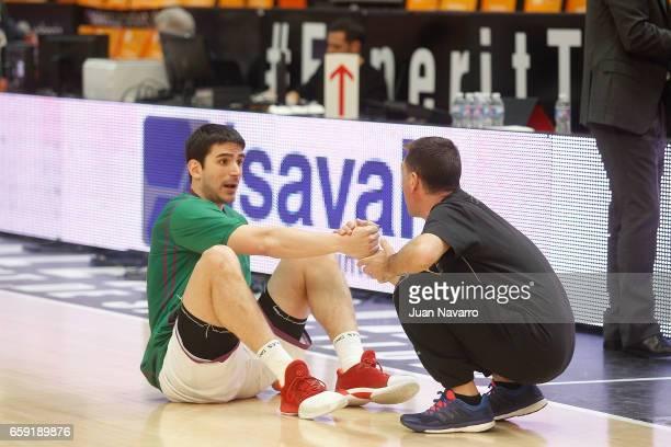 Carlos Suarez #43 of Unicaja Malaga warms up prior the 20162017 7Days Eurocup Finals Leg 1 Valencia Basket v Unicaja Malaga at Pabellon Fuente de San...