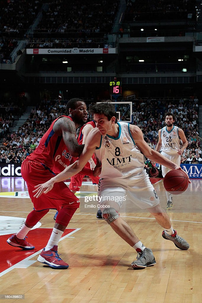 Carlos Suarez, #8 of Real Madrid in action during the 2012-2013 Turkish Airlines Euroleague Top 16 Date 6 between Real Madrid v CSKA Moscow at Palacio Deportes Comunidad de Madrid on January 31, 2013 in Madrid, Spain.