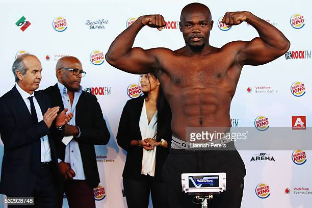 Carlos Takam weighs in during the weigh in at Vodafone Events Centre Manukau on May 20 2016 in Auckland New Zealand Takam will fight Joseph Parker on...